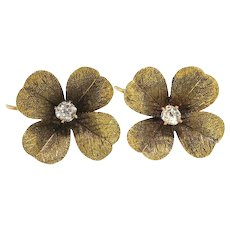 Antique Diamond Clover Earrings Circa 1900's Art Nouveau .19ctw Old European Cut Wedding Earrings 10k Yellow Gold