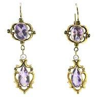 Antique Rose De France Amethyst Pearl Earrings 5.62ct t.w. Circa 1890's Victorian Chandelier Wedding Earrings Euro-Wire Drop 18k Yellow Gold