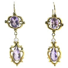 Antique Rose De France Amethyst Pearl Earrings 5.62ct t.w. Circa 1890's Victorian Chandelier Wedding Earrings Euro-Wire Drop 18k Yellow Gold