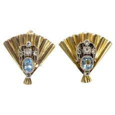 Vintage Aquamarine Diamond Earrings Circa 1940's .38ct t.w. Retro Fan Mid-Century Clip-On Unique Antique Earrings 10K Yellow Gold Silver