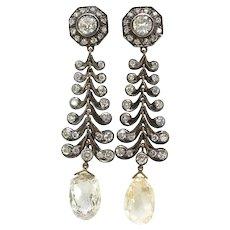 Vintage Chandelier Diamond Earrings Estate 1990's 11.91ct t.w. Rose Cut Briolettes Drop Antique Wedding Earrings 18k Gold Sterling Silver