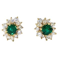 Vintage Tiffany & Co Emerald Diamond Earrings Estate 2.08ct t.w. Emerald Asscher Marquise Cut Diamond Studs Omega Backs 18k Yellow Gold