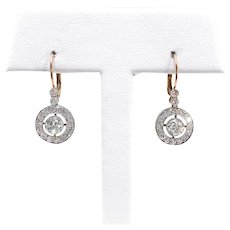 Art Deco Diamond Earrings Vintage 1930's 1.42ct t.w. Antique Wedding Chandelier Drop Earrings Platinum 18k Yellow Gold Studs