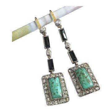 Art Deco Turquoise Onyx Diamond Drop Earrings Platinum 18k