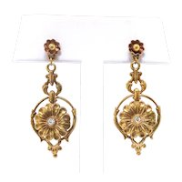 Vintage Diamond Daisy Drop Pierced Earrings in 14K Yellow Gold