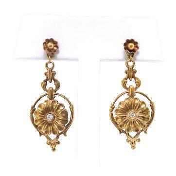 Vintage Diamond Daisy Drop Pierced Earrings in 14K Yellow Gold