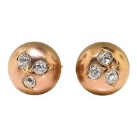 Antique Old European Cut Diamond Clover Ball Orb Sphere Stud Earrings 14K