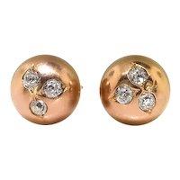Antique Old European Cut Diamond Clover Ball Orb Sphere Stud Earrings 14K