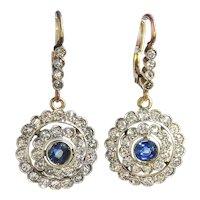 Art Deco Sapphire and Diamond Double Halo Drop Earrings Platinum over 18K