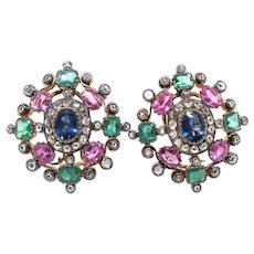 Antique Blue and Pink Sapphire Green Emerald and Diamond Earrings Silver 18K