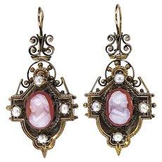 Antique Cameo Earrings Victorian Circa 1890's Carnelian Cameo Pearl Drop Chandelier Earrings 14k Gold