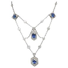 Vintage Sapphire Diamond Necklace Circa 1940's 9.60ct t.w. Natural Blue Sapphire & Diamond Wedding Birthstone Pendant Platinum