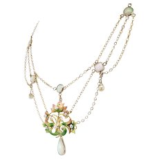"Vintage Opal Enamel Necklace Circa 1950's Natural Opal Festoon Necklace 15"" inches 10k Gold"