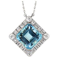"Sensational 15.45ct Aquamarine & 2.25cts Carre Cut Old European Cut Diamonds Platinum Pendant Necklace 22"" Inches"