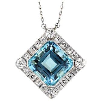 "Sensational 15.45ct Aquamarine & 2.25cts Carre Cut Old European Cut Diamonds Platinum Pendant Necklace 22"" Inches"
