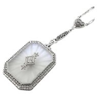 Art Deco Diamond and Camphor Glass Filigree Sautoir Necklace 18k