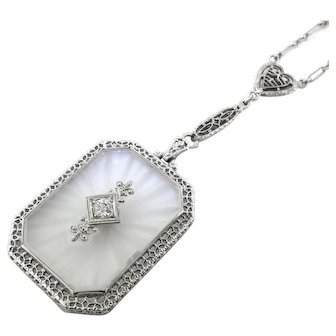 Art Deco Diamond and Camphor Glass Filigree Sautoir Necklace 18k