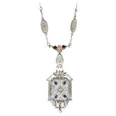"Art Deco 1930's Vintage Diamond Sapphire Pearl Tri Color Filigree Necklace Pendant 14k Gold 19"""