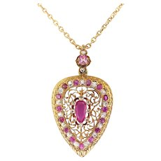 "Antique Victorian Ruby Diamond Locket Necklace Old Mine Cut Diamond Crystal Quartz Back 18k Yellow Gold 18.5"" Inch Chain Gem Set Clasp"