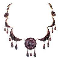 Antique Victorian Garnet Necklace 18.80ct t.w. Boho Gypsy Festoon Rose Cut Natural Almandite Garnets Pendant Choker Gilt Gold Vermeil