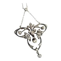 Antique Diamond Trefoil Necklace Silver over 14k Yellow Gold