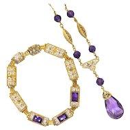 """Art Deco Amethyst Demi-Parure Pendant Necklace Bracelet Set Vintage Antique Filigree 14k Yellow Gold 6.75"""" Inch Wrist"""