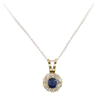 "Antique 1900's Old European Cut Diamond Blue Lab Sapphire Pendant Necklace 14k Gold 16"" Inches"
