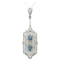 Art Deco 1930's Aquamarine Diamond Seed Pearl Filigree Pendant Necklace 14k White Gold