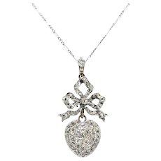 Antique Diamond Heart Pendant Circa 1915 1.36ct t.w. Old European Cut Rose Cut Necklace Platinum 18k Yellow Gold