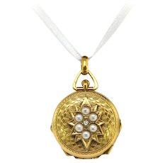Antique Diamond Pearl Locket Circa 1900's Large Multi-Frame Victorian Art Nouveau Edwardian 14k Yellow Gold Pendant Charm