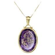 """Antique Diamond Amethyst Pendant 1900's Art Nouveau 31.23ct t.w. Rose Cut Monogram Necklace 18"""" inches 14k Yellow Gold"""