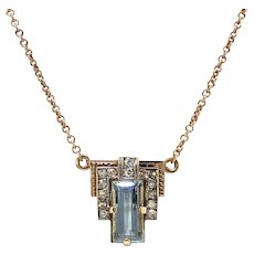 "Vintage Aquamarine Diamond Pendant Circa 1940's 1.46ct t.w. Emerald Cut Rose Gold Wedding Graduation Gift 14k Gold 17"" Inches"