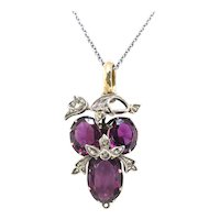 Antique Amethyst Diamond Pendant Circa 1890's 3.23ct t.w. Rose Cut Diamond Victorian Necklace Wine Birthday Christmas Gift 14k Gold Silver