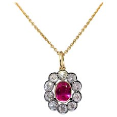 "Antique Ruby Diamond Pendant Circa 1900's 2.27ct t.w. Old European Cut Diamond Halo Synthetic Ruby Necklace Charm 18k Silver 14k 16"" Chain"