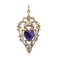 Antique Amethyst Diamond Pendant Vintage 1920's 5.17ct t.w. Edwardian Heart Shaped Old European Birthstone Charm Necklace 18k Gold Silver