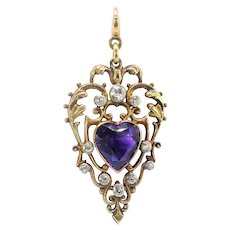 Antique Amethyst Diamond Pendant Vintage 1920's 5.17ct t.w. Edwardian Heart Shaped Old European Birthstone Charm Necklace 18k Gold Silver