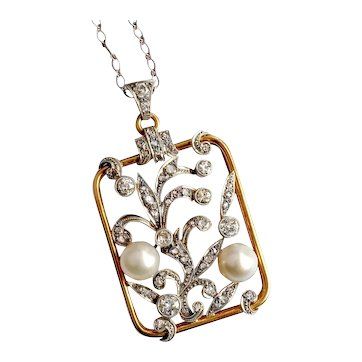 Retro 1940s Cultured Pearl and Old European and Rose Cut Diamond Pendant 14K and Platinum on 30 in. Chain