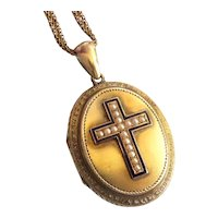 "Victorian Seed Pearl Enamel Locket Enamel Cross Necklace Vintage Pendant 14k Yellow Gold 24"" Inch Chain"