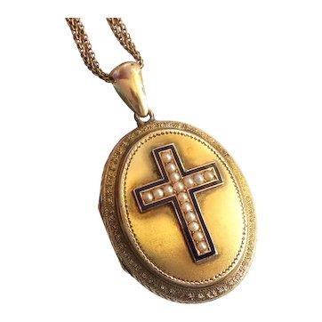 "Victorian Seed Pearl Enamel Locket Enamel Cross Necklace Vintage Pendant 14k Yellow Gold 24"" Inch Chain"