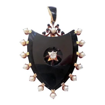 Antique Victorian Shield Onyx Diamond and Cultured Akoya Pearl Mourning Pendant 14K