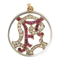 Antique Edwardian Ruby Old European Cut Diamond Initial F Pendant Charm Medallion 18K Platinum