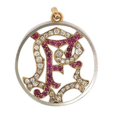 Antique Edwardian Ruby Old European Cut Diamond Initial F Pendant Charm Medallion 18K Platinum