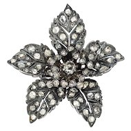 Antique Rose Cut Diamond 2.35 ct.t.w. Flower Brooch-Pin Silver/18k