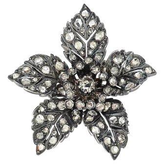 Antique Rose Cut Diamond 2.35 ct.t.w. Flower Brooch-Pin Silver/18k