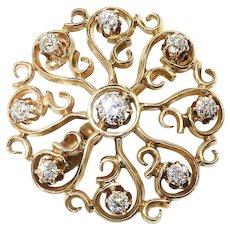 Antique Diamond Starburst Pendant Circa 1890's .99ct t.w. Old European Cut Diamond Pin Brooch 14k