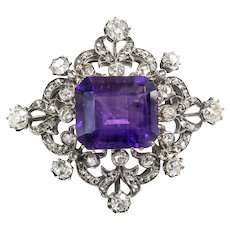 Antique Diamond Amethyst Brooch Circa 1860's 11.07ct t.w. Victorian Old Mine Rose European Cut Brooch