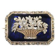 Antique Diamond Giardinetti Brooch Circa 1870's .75ct t.w. Mourning Pin Navy Blue Glass Rose Cut Diamond 18k Gold Silver