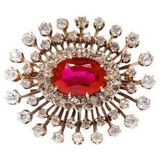 Antique Edwardian Diamond Starburst Brooch Circa 1920's 4.71ct t.w. Old European Rose Cut Synthetic Lab-Created Ruby Pin Pendant 14k Gold