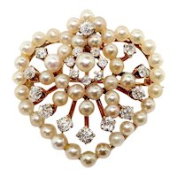 Antique Diamond Pearl Brooch Victorian Circa 1880's .87ct t.w. Old European Cut Diamond Seed Pearl Heart Motif Pin Pendant 14k Yellow Gold