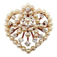 Antique Diamond Pearl Brooch Victorian Circa 1880's .87ct t.w. Old European Cut Diamond Seed Pearl Heart Motif Pin Pendant 14k Yellow Gold